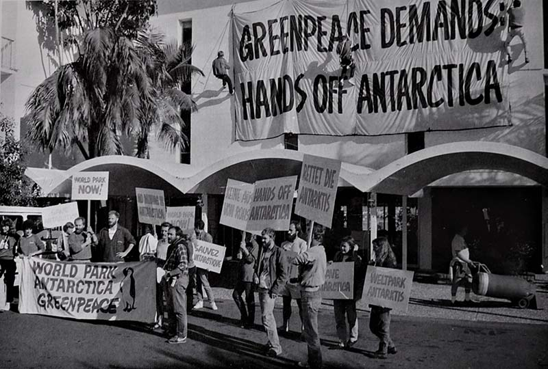 December 1990 - Greenpeace picket line outside the Antarctic minerals negotiations in Auckland in 1987. Photo by Steve Morgan
