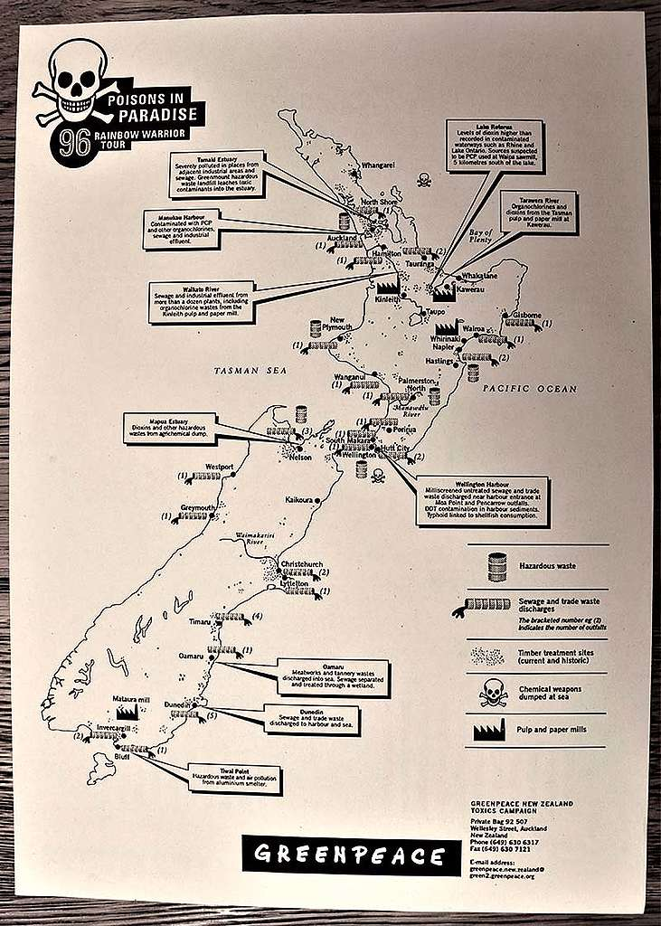 11 June 1996 Map of toxic pollution problems produced by Greenpeace for the SV Rainbow Warrior II 'Poisons in Paradise' tour