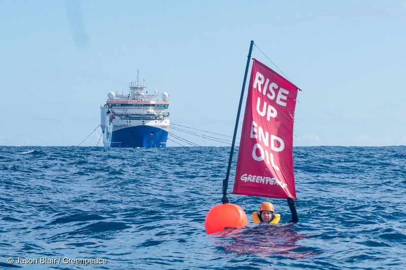 10 April 2017 - Three Greenpeace activists including Greenpeace NZ executive director Russel Norman swam in front of the 125m Amazon Warrior nicknamed 'The Beast' which is conducting offshore oil exploration vessel off the New Zealand coast on behalf of Statoil and Chevron. The swimmers' position forced the oil exploration ship to halt its operations and deviate off course.They were 50 nautical miles off the Wairarapa coast and got their aboard Greenpeace NZ's new crowdfunded boat Taitu.To find oil, the Amazon Warrior is using seismic cannons to blast the seafloor with soundwaves every eight seconds, day and night. It needs to travel in straight lines along a grid to get data about potential oil reserves, and any deviation makes this data unusable.
