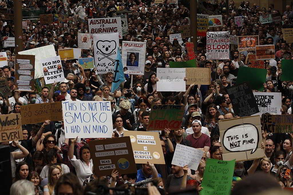 數以千計市民12月於悉尼市政廳外參與氣候告急遊行,促請當局應對氣候危機不容怠慢。 © Dean Sewell / Greenpeace