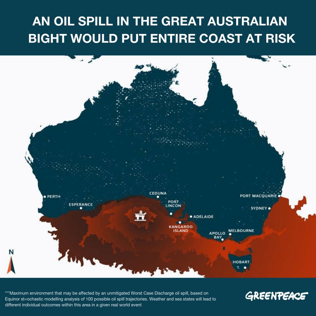 綠色和平2018年披露文件,指出Equinor的估算模型早已揭示潛在漏油事故將禍及整個澳洲南海岸,仍一意孤行染指大澳洲灣。© Greenpeace