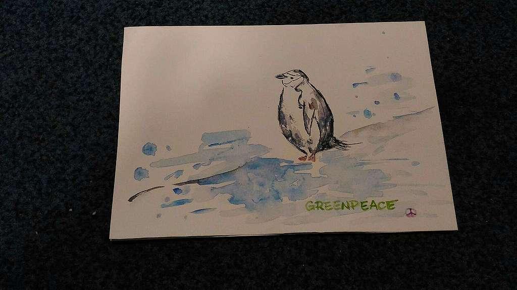 頰帶企鵝形單影隻看海一剎那,小豚以手繪卡片記錄下來。 © Yei Hsuan Huang / Greenpeace