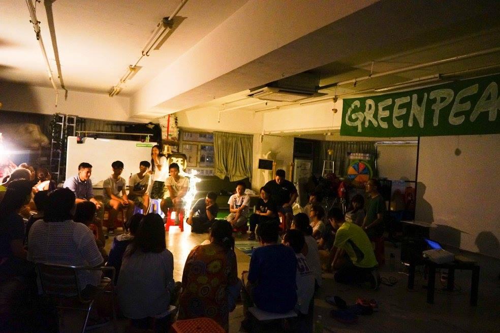 Fion的環保義工事業:這是她有份籌劃,一次綠色和平、綠適朋友、素食青年合辦的綠色電影分享會。(由Fion提供)