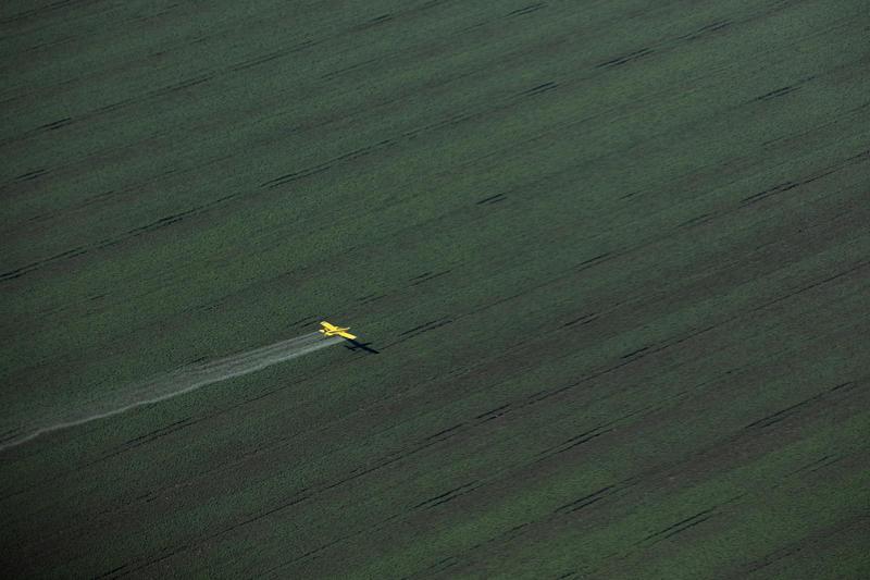 巴西的大豆種植場,上空是殺蟲劑噴灑器。© Marizilda Cruppe / Greenpeace