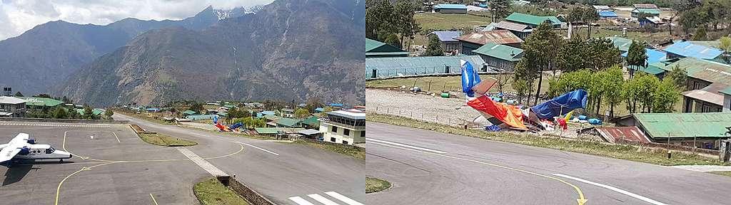 阿建抵達盧克拉機場時拍到前幾天機場發生意外的痕跡