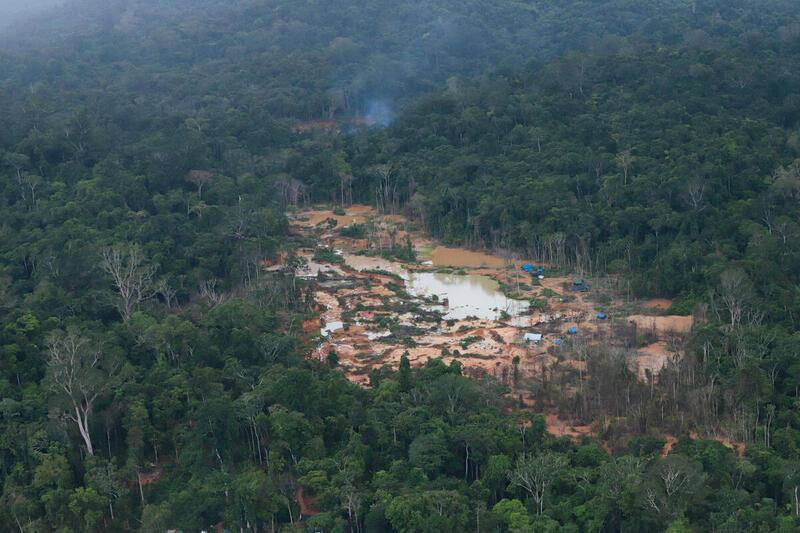 綠色和平偵查團隊航拍毀林實證,直擊採礦業者大量砍伐樹木,破壞環境,侵佔原住民家園和權利。© Chico Batata / Greenpeace
