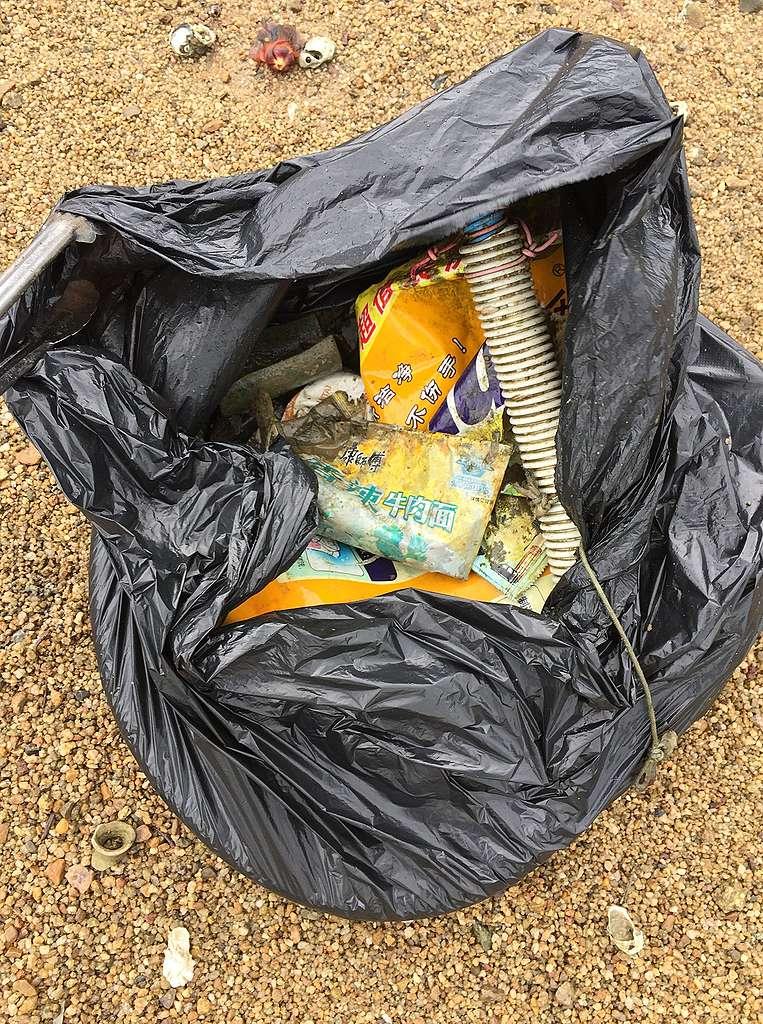 十幾分鐘撿了這麼多垃圾。© Island hopper