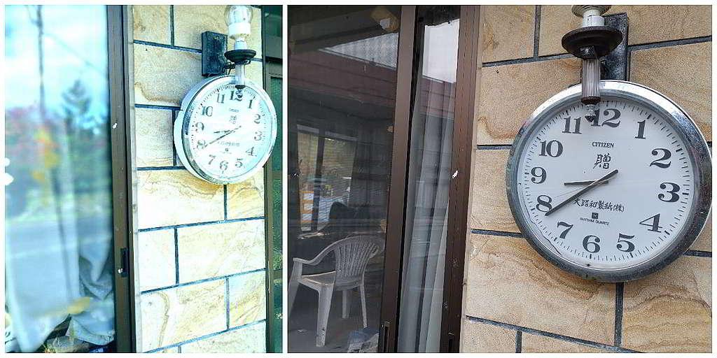 Ray先後兩次到訪福島時拍攝的同一個時鐘──靜止不動的時針、分針,為福島災後的凝結狀態作沉默見證。 © Greenpeace