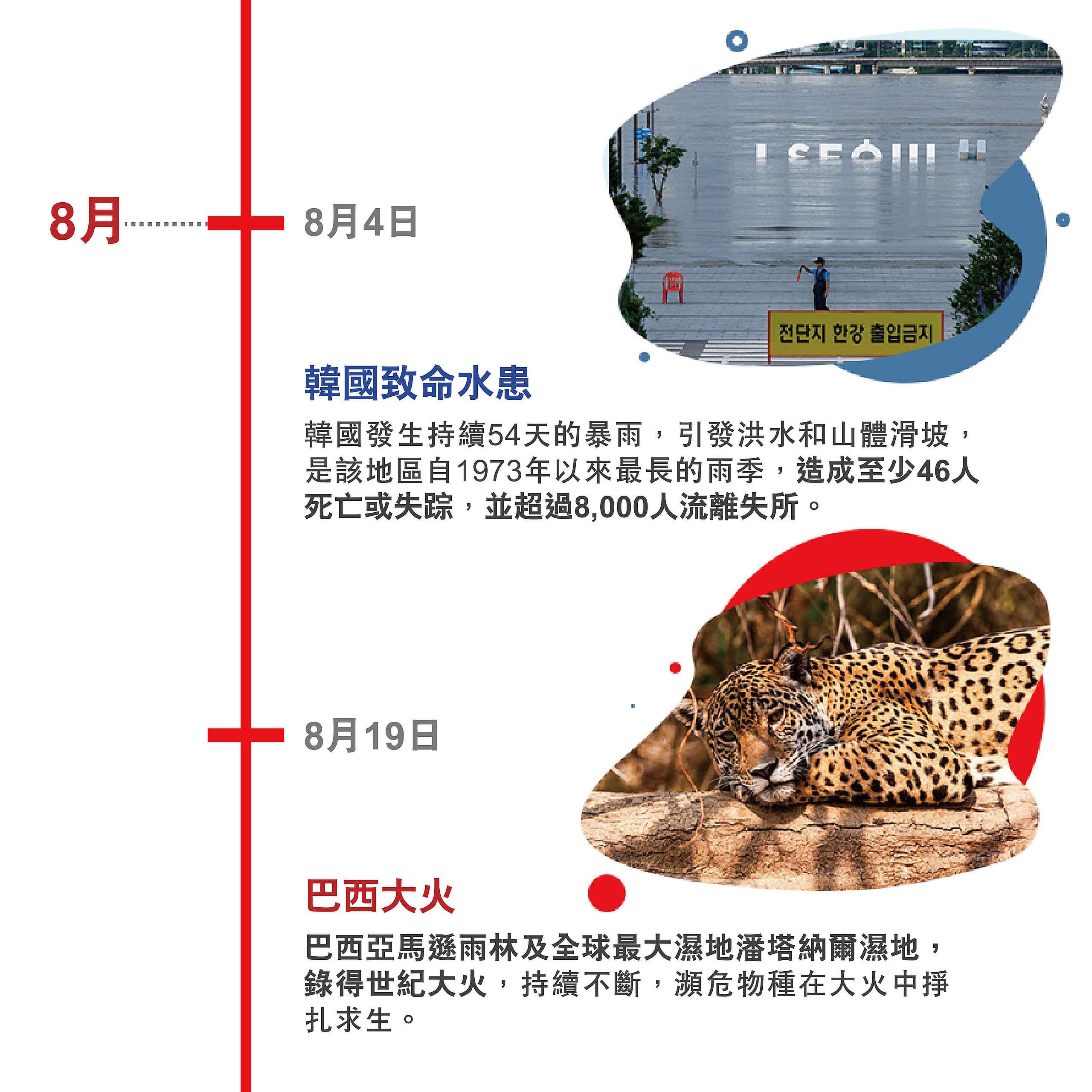 韓國致命水患 韓國發生持續54天的暴雨,引發洪水和山體滑坡,是該地區自1973年以來最長的雨季,造成至少46人死亡或失踪,並超過8,000人流離失所。 巴西大火 巴西亞馬遜雨林及全球最大濕地潘塔納爾濕地,錄得世紀大火,持續不斷,瀕危物種在大火中掙扎求生。