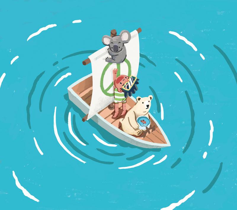 《無家可歸的我》故事透過小丑魚、北極熊、樹熊到豆豆的故事,帶出氣候危機的影響。© Greenpeace