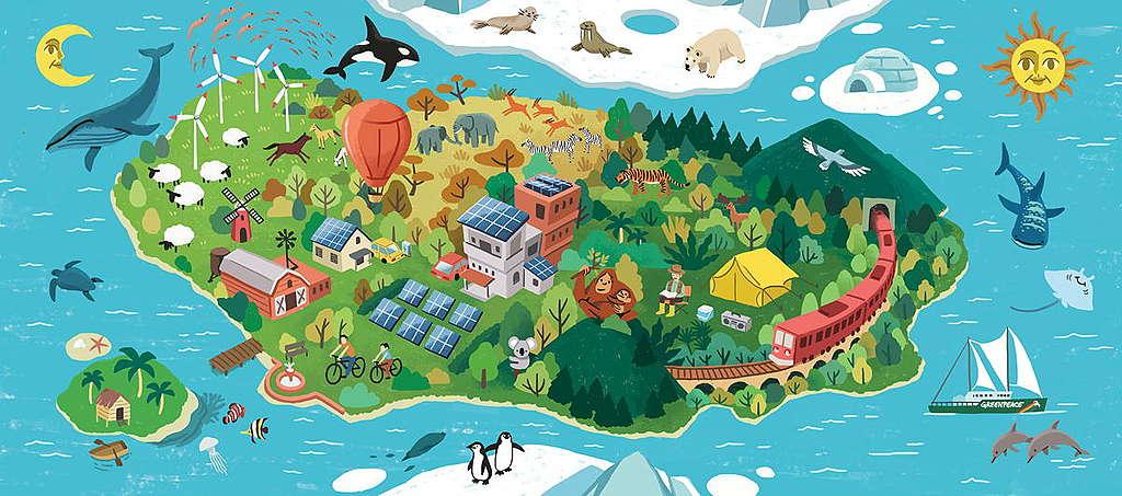 《無家可歸的我》繪本散發愛護地球、拯救氣候的訊息,與孩子一起建立綠色與和平的未來。© Greenpeace