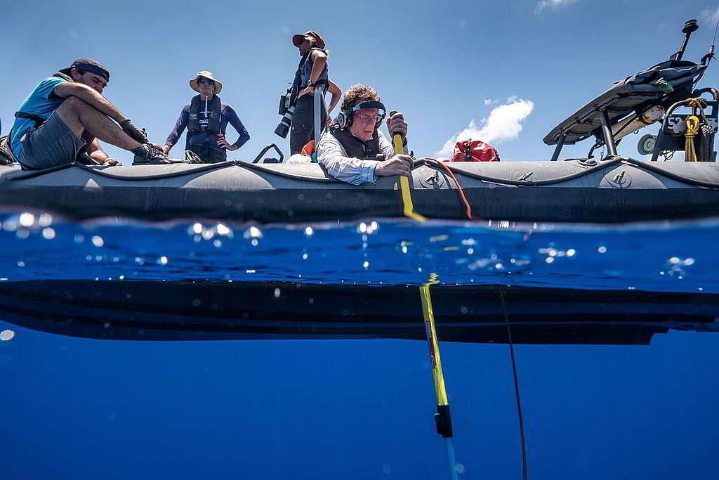 隨極地曙光號前往印度洋考察的科學家乘坐橡皮艇,以水下聽音器探測海洋生物的聲音。 © Tommy Trenchard / Greenpeace