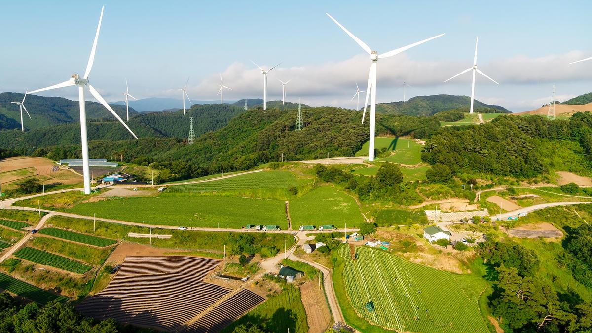 位於韓國慶尚北道英陽郡的風電場,是韓國第三大風電場,預計每年可產生134百萬度的電力。© Greenpeace