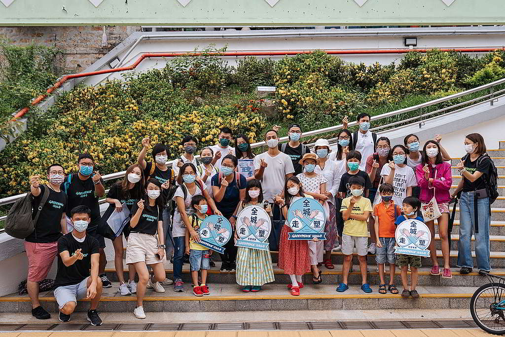 綠色和平社區走塑項目定期舉行「走塑大Hunt」活動,至今獲超過900間店鋪響應。 © Greenpeace