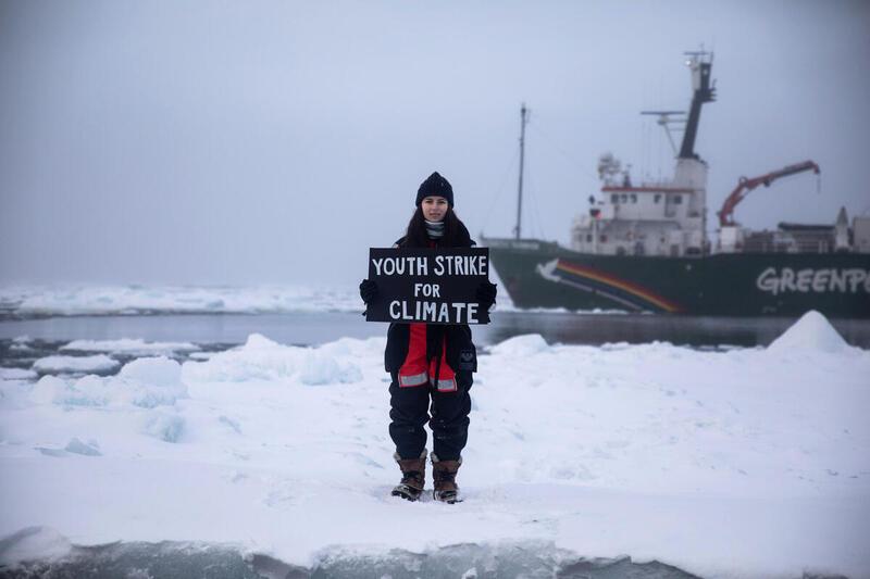 Mya-Rose Craig2020年參與綠色和平極地曙光號的北極航程,9月25日在極地為氣候行動,最近獲健力士記錄認證為地球最北端的氣候行動。 © Daniella Zalcman / Greenpeace