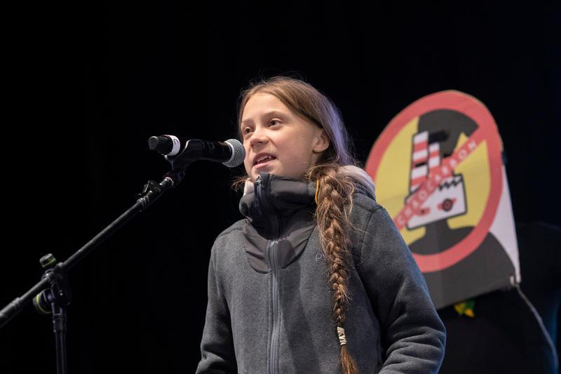 """環保少女Greta Thunberg在2019年的聯合國氣候行動峰會上,以""""How dare you""""一言挑戰全球領袖的氣候政策,喚醒全球,年輕一代不再容忍氣候拖延。© Pablo Blazquez / Greenpeace"""
