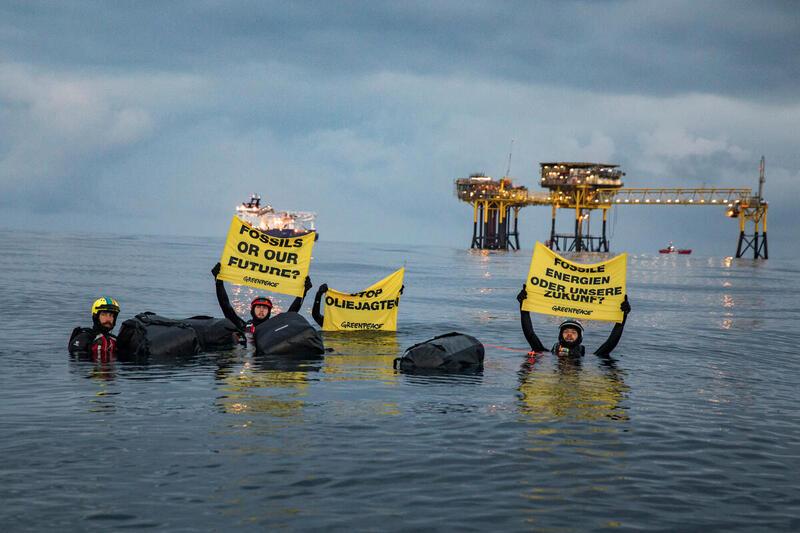 2020年8月綠色和平在丹麥北海海域進行「北海行動」,呼籲丹麥政府著眼氣候未來,向化石能源說不!© Andrew McConnell / Greenpeace