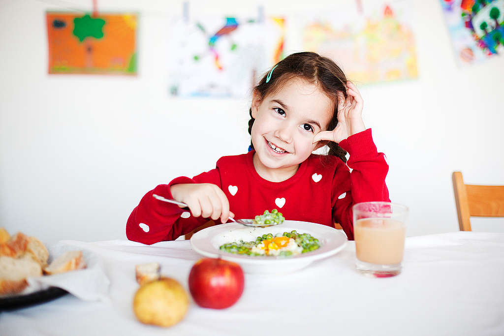 Children Eating Ecological Food in a School Canteen in Hungary. © Bence Jardany