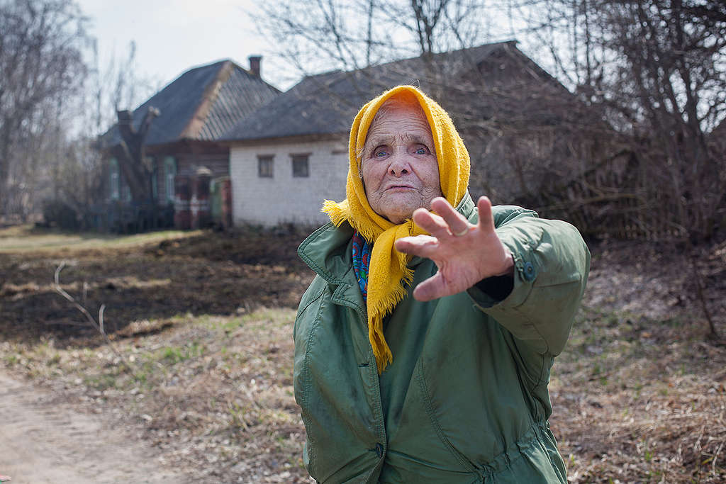 Woman in Village Affected by Chernobyl Disaster. © Greenpeace / Liza  Udilova