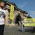 Az Alagútnál akciózott a Greenpeace a tiszta levegőért