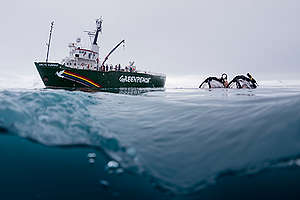Greenpeace Submarine and Arctic Sunrise in the Antarctic