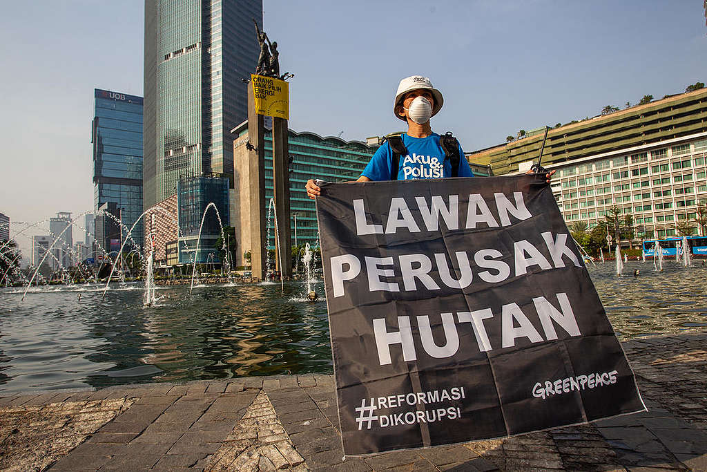 Welcoming Re-elected Indonesian President. © Dhemas Reviyanto / Greenpeace