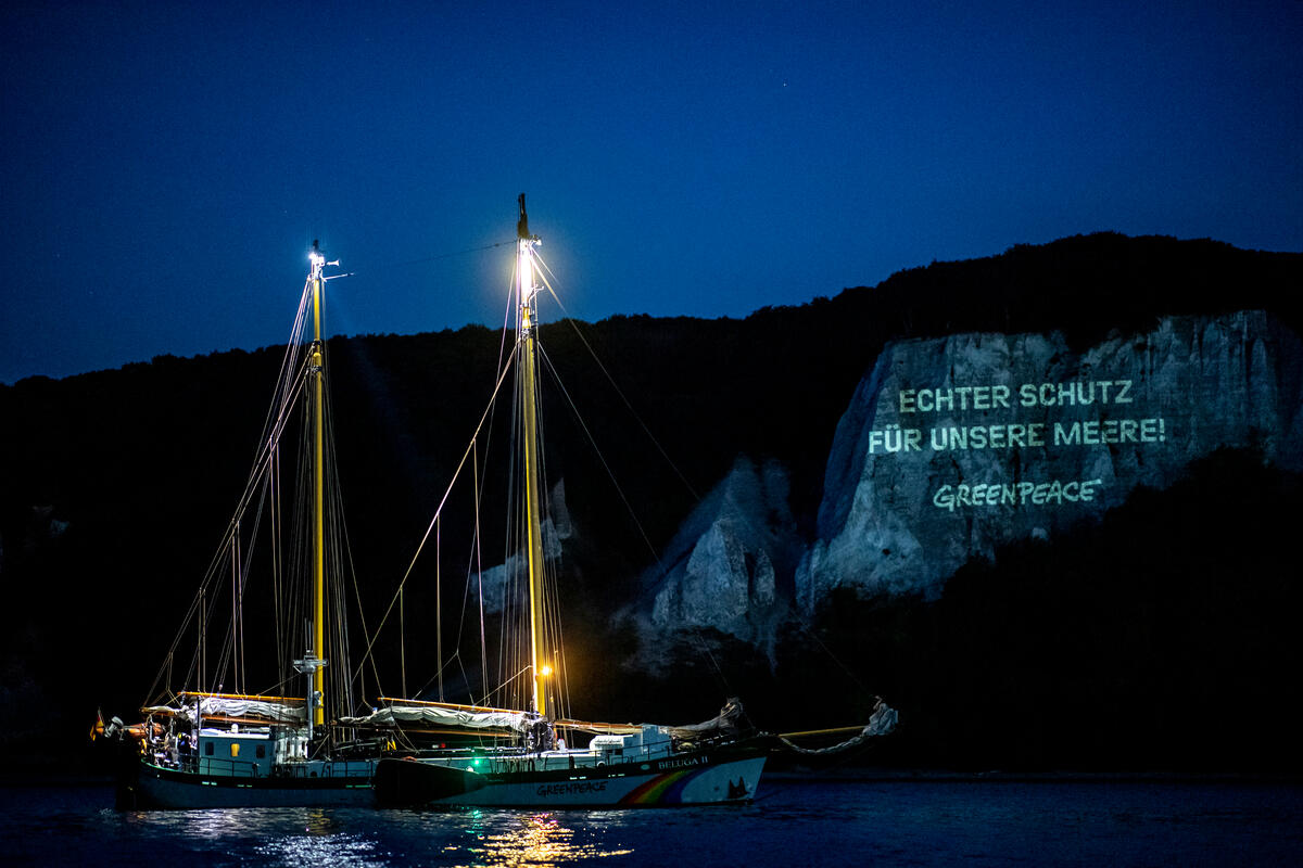 Projection Action in North and Baltic Sea Protected Areas © Axel Heimken / Greenpeace