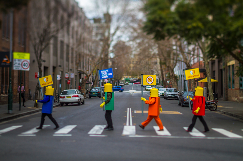 LEGO figures blockade Shell service station in Sydney © Greenpeace / Abram Powell