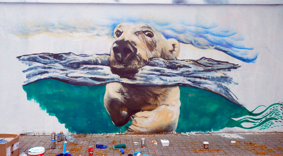Urban Art for the Arctic in Barcelona © Greenpeace / Carlos Alonso