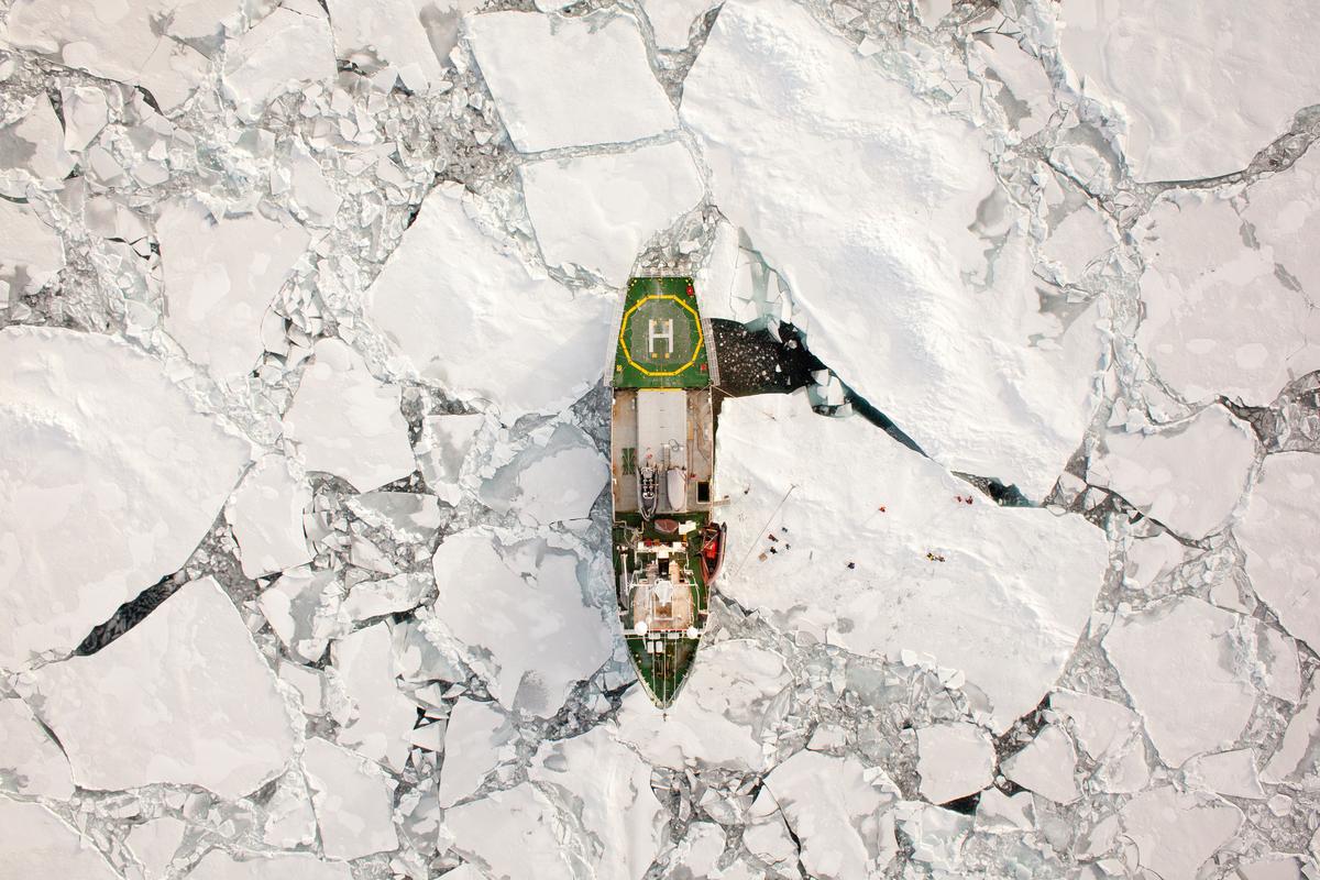 Arctic Sunrise moored to Ice Floe