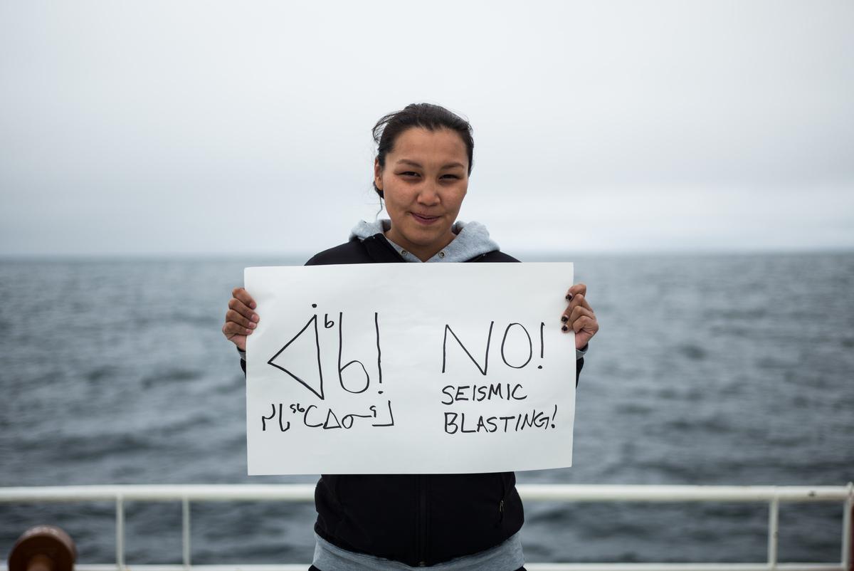 Clara Natanine on Arctic Sunrise in Davis Strait © Greenpeace