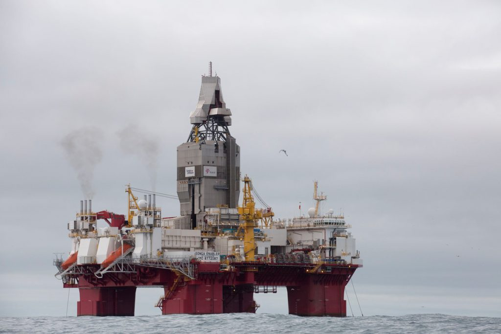The Songa Enabler oil drilling platform in the Barents Sea, Norway
