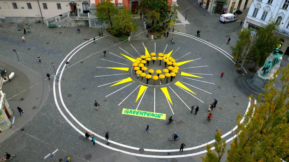 Sunrise Action in the Center of Ljubljana, Slovenia © OneDrone