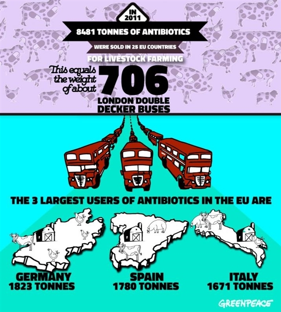 In 2011, 8481 tonnes of antibiotics were sold in 25 EU countires. © Greenpeace