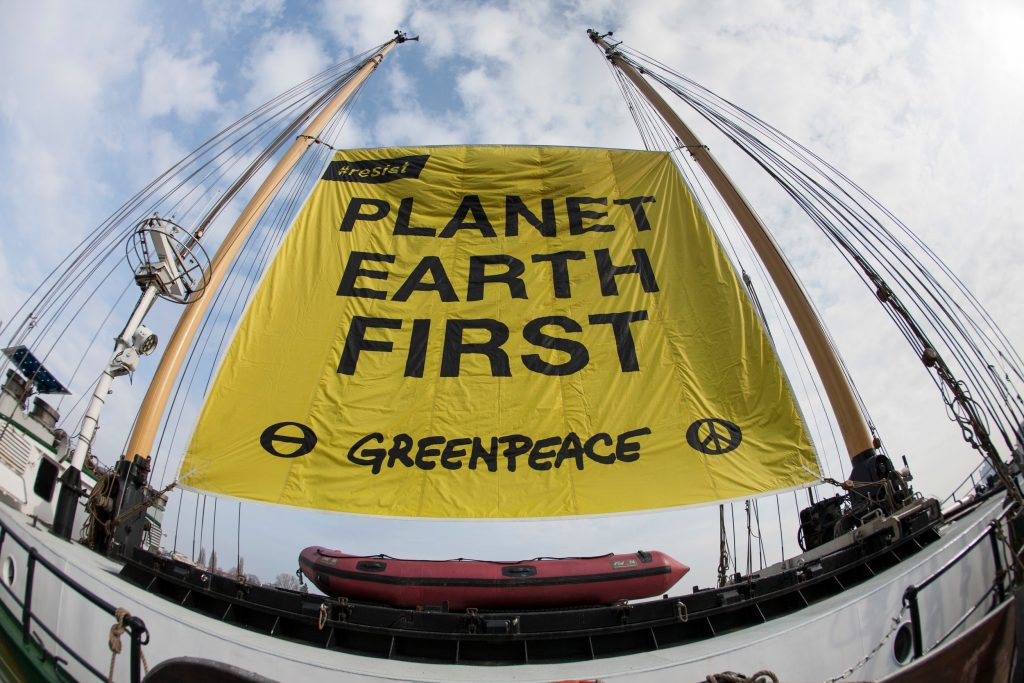 Planet Earth First Banner at G20 Foreign Ministers Meeting in Bonn © Bernd Lauter / Greenpeace