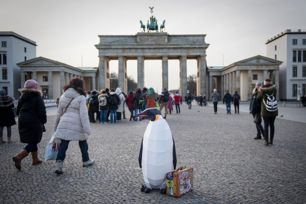 """March of the Penguins in Berlin""""March of the Penguins in Berlin © Bente Stachowske / Greenpeace"""