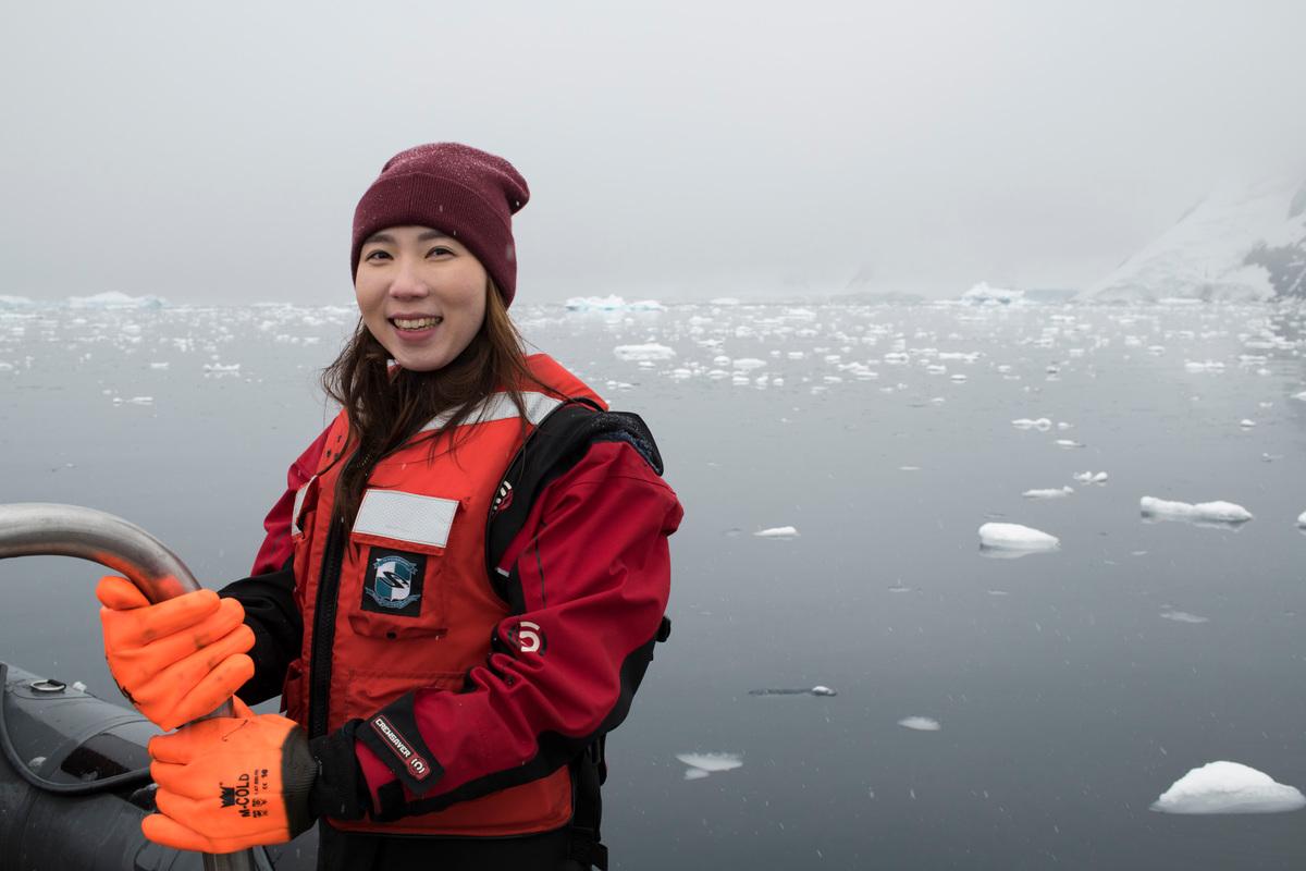 Jenny Hyun in the Antarctic © Daniel Beltrá / Greenpeace