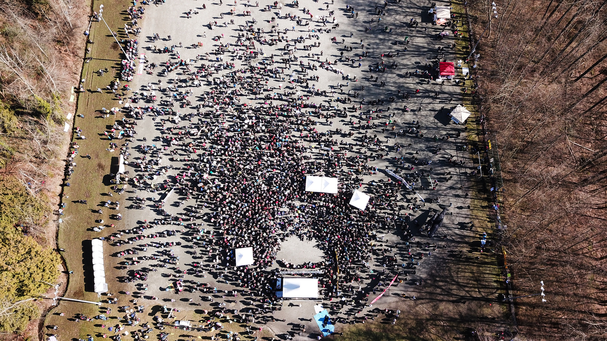 Aerial View of Marchers in British Columbia, Canada © Howie Chong