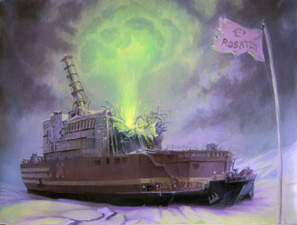 Artist's rendering of a floating nuclear power plant disaster © Denis Lopatin / Greenpeace