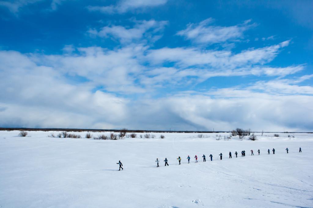 BreakFree skiers in the Komi Republic, Russia © Igor Podgorny/Greenpeace