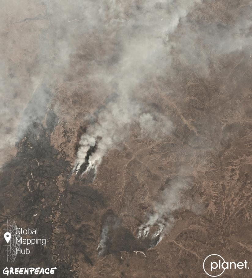 Satellite imagery of smoke rising from Amur region fires © Planet