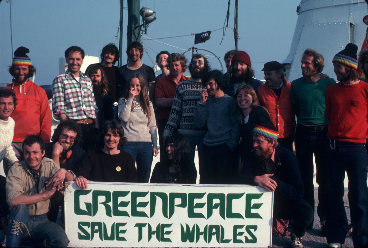 Rainbow Warrior Crew with Whaling Banner, 1978 © Greenpeace / Jean Paul Ferrero