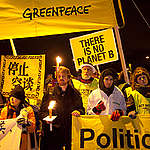 Up to 100,000 people for a night vigil of the Global Day of Action in Copenhagen.  The march is part of activities worldwide, directed at world leaders gathered at the COP15 United Nations Climate Change Conference.