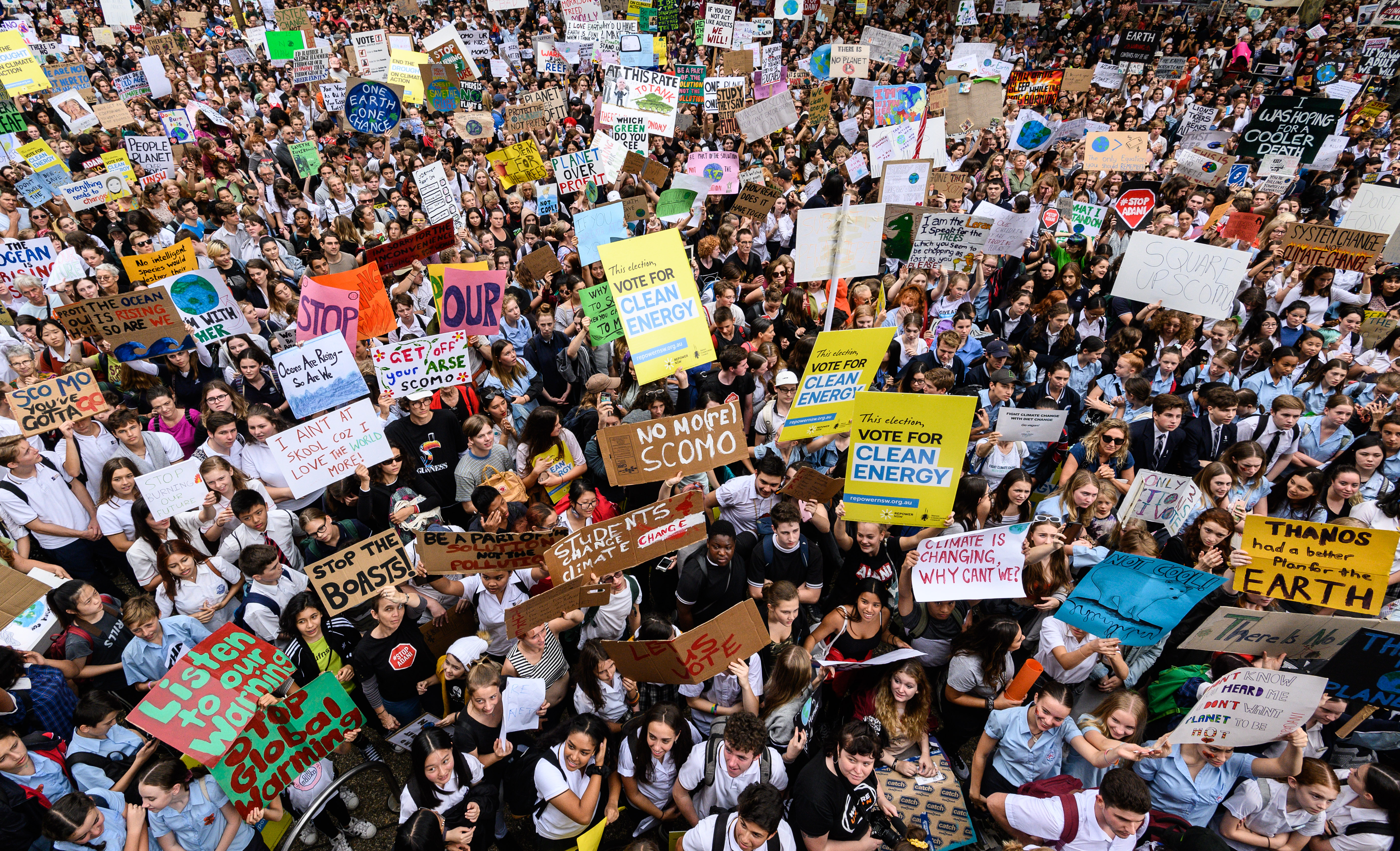 SYDNEY, AUSTRALIA - MARCH 15: Protesters during a Climate Change Awareness March on March 15, 2019 outside Sydney Town Hall, Australia. The protests are part of a global climate strike, urging politicians to take urgent action on climate change. James Gourley/Getty Images