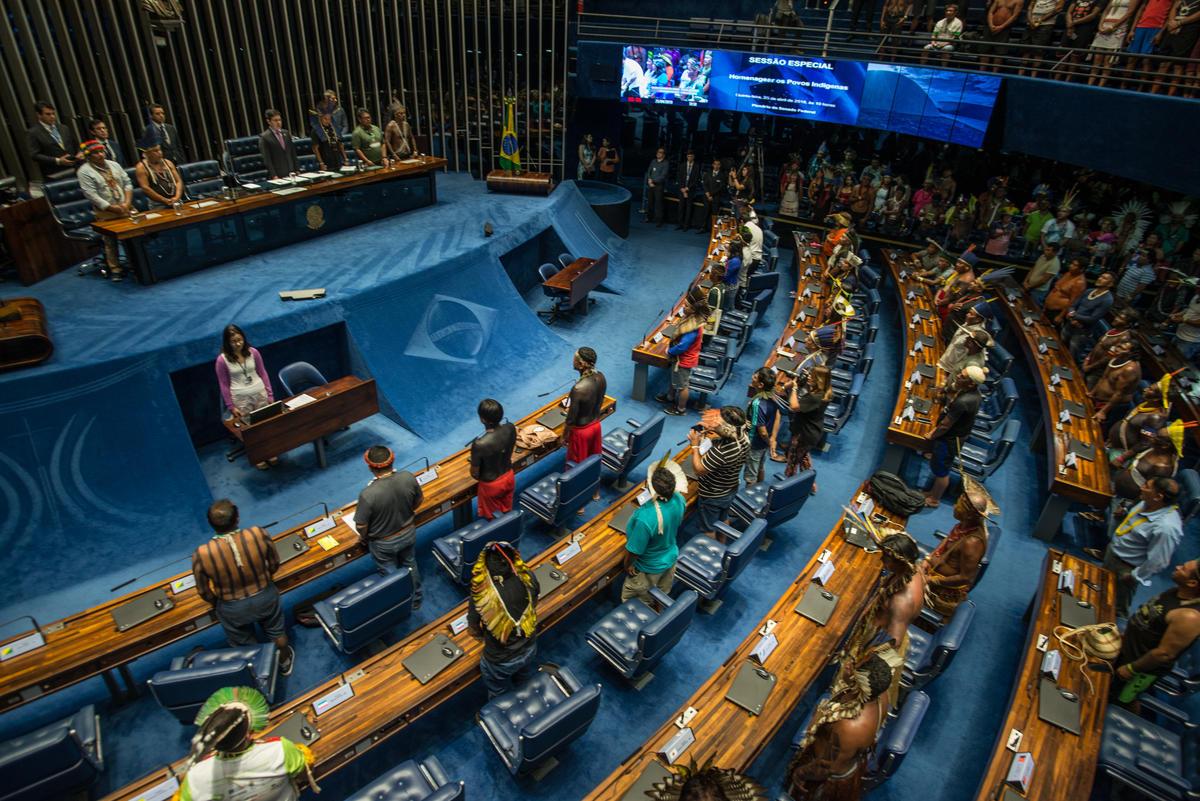 Indigenous People speak at the Senate in Brasília, Brazil. © Christian Braga / MNI