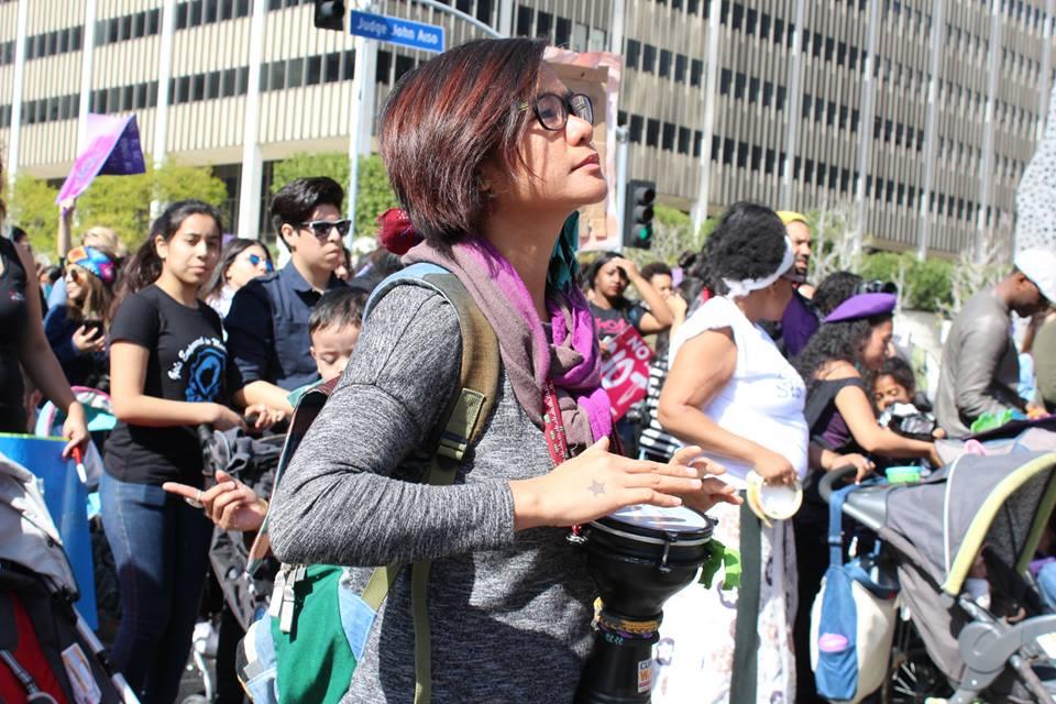 Nityalila Saulo at the Women's March in LA
