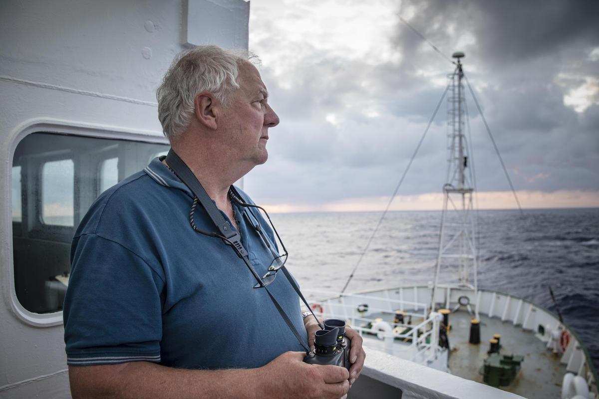 Fisherman Jerry Percy aboard the Esperanza. © Kajsa Sjölander / Greenpeace