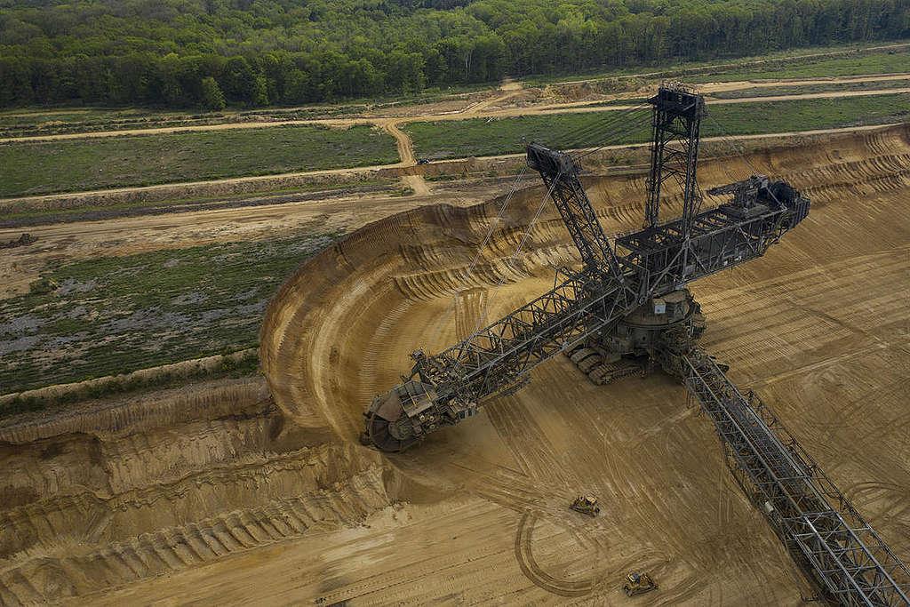 Aerial of Open Pit Mining Garzweiler II near Hambach Forest