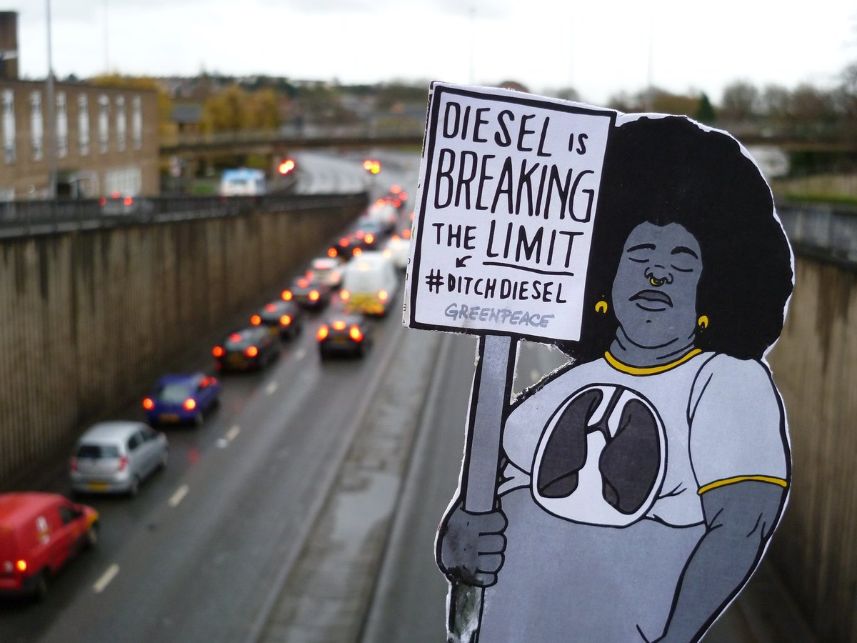 A Cutout Air Pollution Figure in Reading © Greenpeace