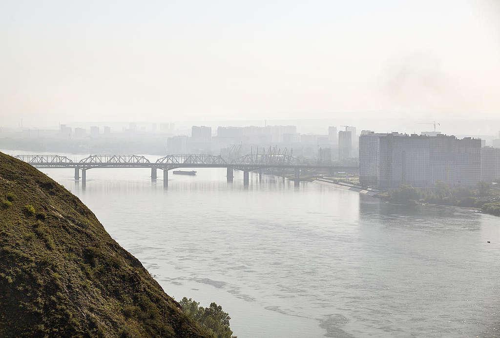 in Smoke from Siberian Wildfires © Anton Voronkov / Greenpeace